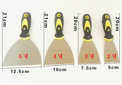Set 4pcs 2 3 4 5 Inch Putty Knife Paint Painting Steel Gum Tool Scraper Handle