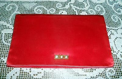 Vintage Christian Dior Red Satin Lingerie Stockings Hosiery Travel Bag
