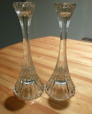 "Pair Of Mikasa Park Lane Crystal Candle Sticks 8"" Tall"