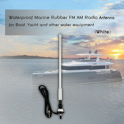 Radio Boat Outdoor CarWaterproof Rubber Flexible FM AM Car White Yacht Antenna