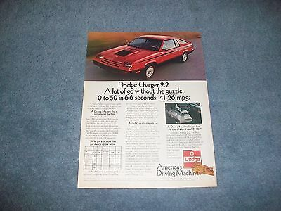"""1982 Dodge Charger 2.2 Vintage Ad """"A Lot of Go Without the Guzzle"""""""
