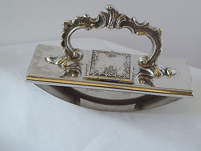 Antique Silver PIate Ink Blotter w/ Hinged Compartment - Meriden  # 109