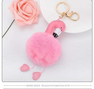 Cartoon Flamingo Fur Ball Keychain Key ring for car key pendant small gift Pop