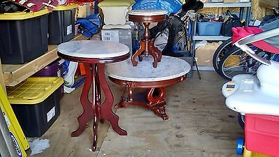 Set of 3 Antique Marble Top Wood Tables includes coffee, end, and console table
