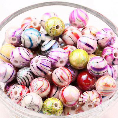 20Pcs Acrylic Striped Mixed Floral Round Loose Spacer Beads Jewelry Findings 8MM