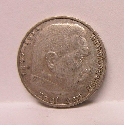 1937-A German  Silver 2 Reichs Mark - Swastika - Ww 2
