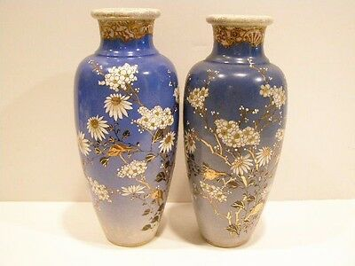 Two Japanese Satsuma Signed 1900-1940 Vases Blue With Flowers Earthenware