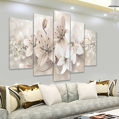 5Pcs Art Modern Abstract Flower Canvas Oil Painting Picture Print Wall Decor