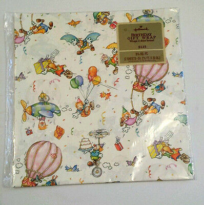 Vtg Hallmark Birthday Flying Clowns Gift Wrap Wrapping Paper 2 Sheets Sealed EVC