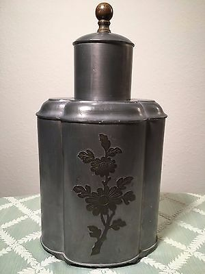 Chinese Pewter Tea Caddy (Old Vintage Antique Jar China Asia Metal Brass Flower)