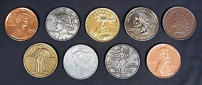 "Lot of 9 Vintage Large 3"" Novelty Metal Coins  **Free Shipping**"