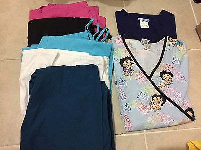 Lot Of 8 Women's Scrub Tops And Bottoms Xs/sm Free Shipping