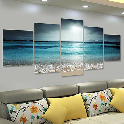 5Pcs Sun Seaside Art Canvas Print Painting Picture Home Office Wall Decor Gift