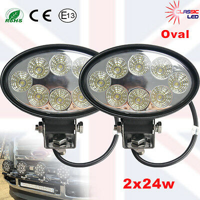 2 X24W oval LED Flood Work Light offRoad Truck Tractor lamp 12V 24V IP67 SUV 4X4