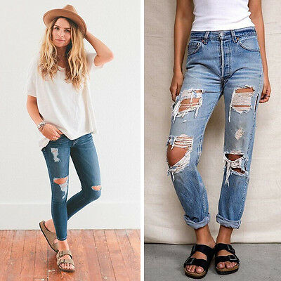 Women's Denim Skinny Ripped Pants Hollow Out Casual Jeans Slim Pencil Trousers