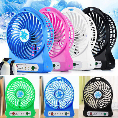 Portable Rechargeable LED Light Fan Mini Desk USB Fan Handheld Air Cooler