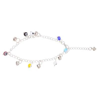 SY Evil Eye Round Glass Charms Anklet Chain Ankle Bracelet 0.31""
