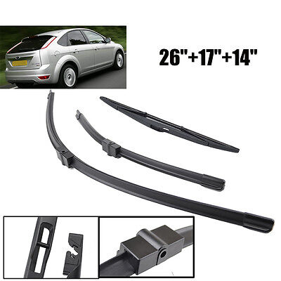 Windshield Wiper Blades Kit Front Rear Window Fit For Ford Focus 2 Mk2 04-11