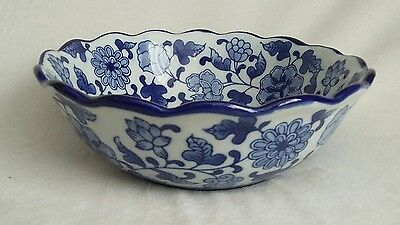 Vintage Hand Painted Blue & White Chinese Asian Oriental Bowl. Waved Rim.