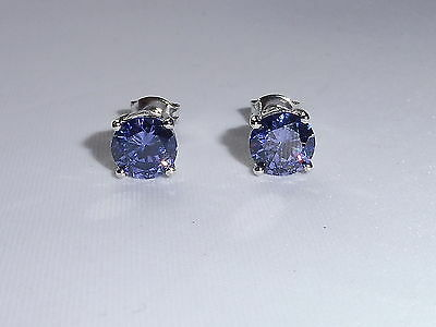 Ladies Sterling 925 Solid Silver 1.2 CT Brilliant Cut Purple Tanzanite Earrings