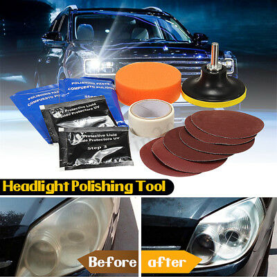 14Pcs/Set Car Headlight Lens Restoration System Repair Kit Light Polishing Tool