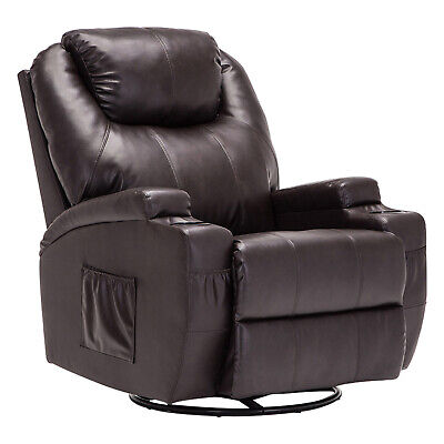Massage Sofa Chair Swivel Heated Recliner Ergonomic Lounge with Control Brown