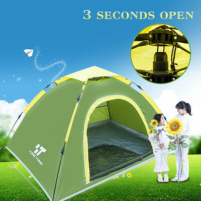 Waterproof Glass Green 3-4 Person Fishing Protable Outdoor UV Auto Tent Pop up