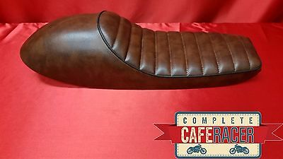 (Ls4) Cafe Racer Brown Leatherette Seat With Black Trim Seat Pad And Hump