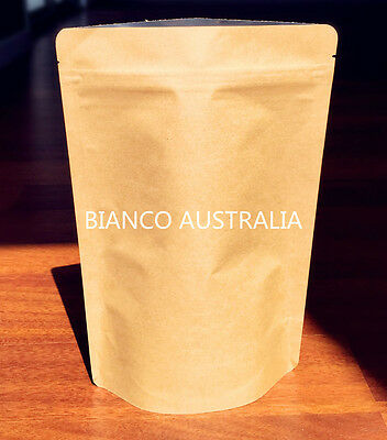 100X 250G(750ML) Stand Up Pouch Bag, Kraft Paper, Foil Lined, With Zip Lock