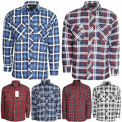 Mens Flannel Brushed Cotton Work Shirts Lumberjack Check Long Sleeve Shirt