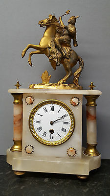 Vintage Onyx 8 Day Mantle Clock with Horseman