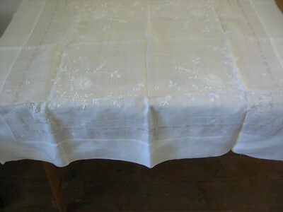 Antique Fine Lawn Tablecloth Hand White  Floral  Embroidery Lace Inserts