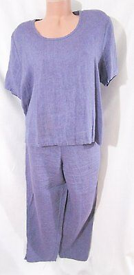 FLAX 100% Linen Violet 2-Piece Matching Top and Pants Loose Fit Medium