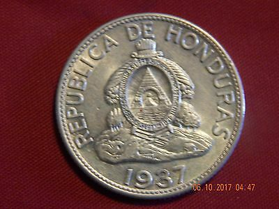 1937 Honduras Un Lempira - Silver ( .3617 asw) - Uncirculated - 31 MM