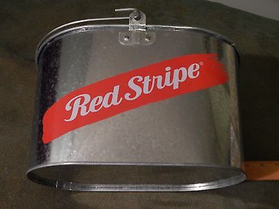 *PUB_BARWARE*_Chrome Metal *RED STRIPE BEER* (2013) Oval Ice Bucket Pail_JAMAICA