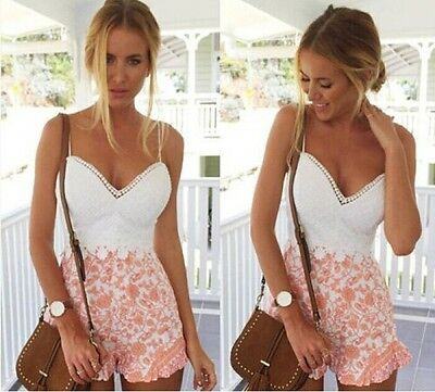 Womens Sweet Summer Mini Playsuit Beach Party Shorts Dress Ladies Jumpsuit UK