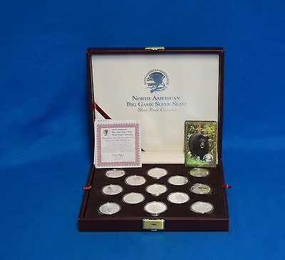 27 North American Big Game Super Slam .999 Silver Proof Coin Collection w/Case