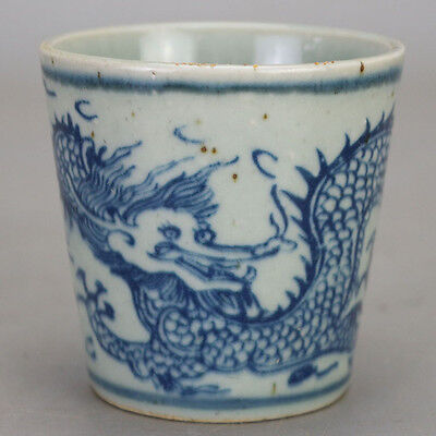 Chinese Old Blue And White Dragon Pattern Wine Cup/ Tea Cup