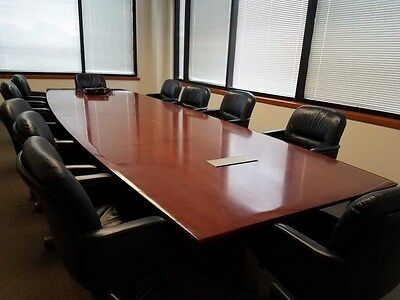 Huge 16 Ft Nienkamper conference Table Exec Mahogany table 11 leather chairs