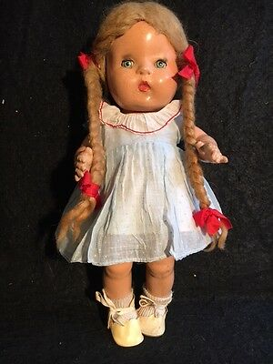 "Vintage 1937 Horsman Jo Jo 12"" Composition Doll with Clothes"