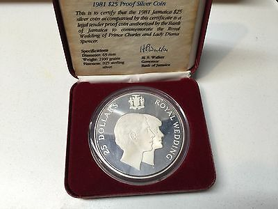 1981 Jamaica .925 Sterling Silver Proof 25 Dollar Coin Presentation Box 4.37 OZT