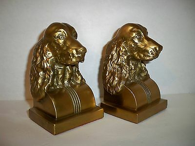 Vintage Pair Brass Spaniel Hunting Dog Bookends PMC 414B