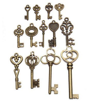 Set of 13 Old Look Antique Vintage  Bronze Skeleton Keys Fancy Heart Bow Pendant