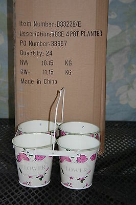 Wholesale stock job lot Metal 4 pot planter with Rose design x24