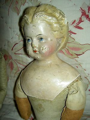"Antique paper mache 17"" lb'd: Greiner #3 1858-72 blond papiermache doll orig.TLC"