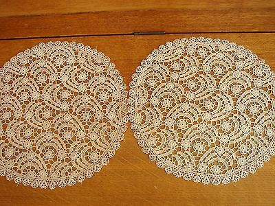 Attractve Pair Of Lace Table Mats In Excellent Condition.