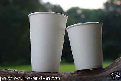 50 X Disposable WHITE PAPER CUPS 8oz,12oz for Hot/Cold Drinks Tea Coffee Party