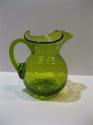 """Vintage Olive Green Crackle Glass Blenko 4"""" Wide Mouth Pitcher Hand Blown"""