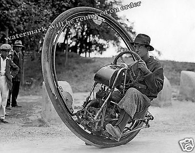 Photograph of Goventosa One Wheel Motorcycle Year 1935  8x10