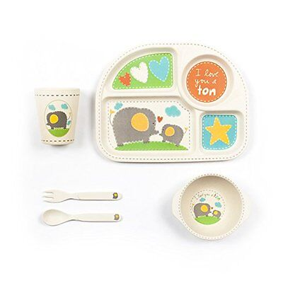Child 5-Piece Bamboo Dinner Set Whale Elephant Owl Kids Natural Cute NEW Baby